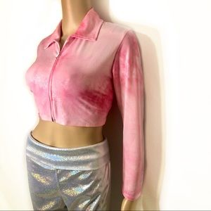 Pink Glitter Galaxy Crop Jacket Small